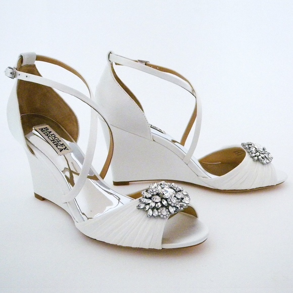 Badgley Mischka Tacey White Wedge Wedding Shoes Boutique